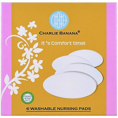 Charlie Banana, Washable Nursing Pads, White, 6 Pads