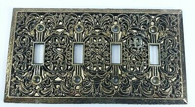 Vintage 4 Toggle Brass Light Switch Plate with Screws Antique Home Decor