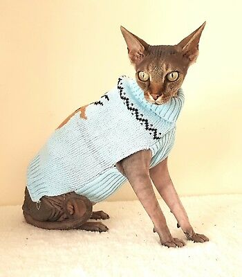 blue REINDEER cat top for a Sphynx cat, Christmas cat clothes, Sphynx cat top