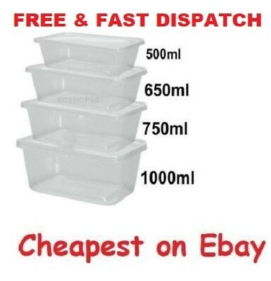 Food Containers Plastic Takeaway Microwave Freezer Safe Storage Boxes + LIDS UK