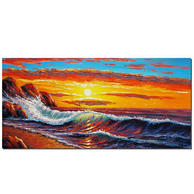 Modern Sunset Scenery Hand Painted Abstract Oil Painting Home Deco Canvas Art