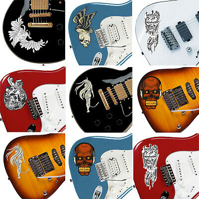 Customise your Guitar Decal Stickers 6 choices Metal Rock Blues Guitarist Gift