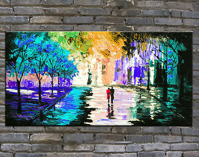 Huge Modern Home Decor Hand Painted City Scenery Abstract Oil Painting On Canvas