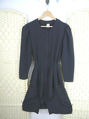 VINTAGE silky black polyester gothic peplum repaired 80s flirty swishy dress S/M