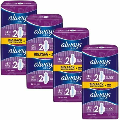Always Ultra Long Sanitary Towels Pads Size 2 Wings Womens Absorbent, Pack of 88