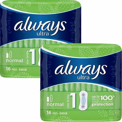 Always Ultra Normal Sanitary Towels Pads Size 1 Women Super Absorbent Pack of 32