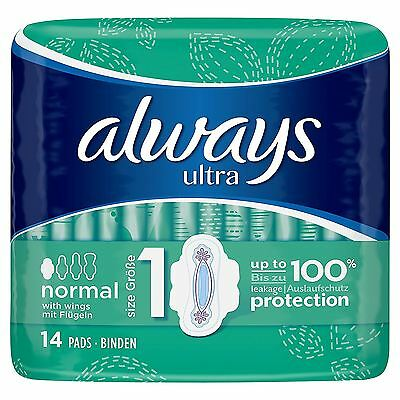 Always Ultra Normal Sanitary Towels Pads With Wings Size 1 Absorbent Pack of 14