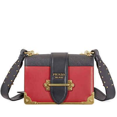 aaa52a279505 Prada Cahier Leather Shoulder Bag - Black and Red 1BD045_2BB0_F0C9F_V