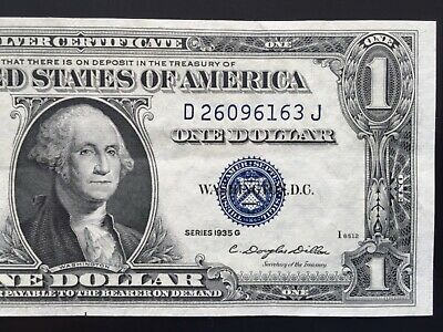 1935 G Silver Certificate $1 DOLLAR BILL ,Blue Seal (BLOCK D/J ),CIRCULATED
