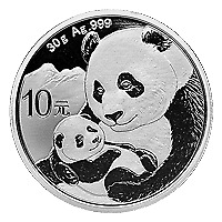 Lot of 15 x 30 g 2019 Chinese Panda Silver Coin
