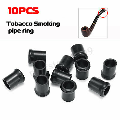 10Pcs Black Soft Rubber Tobacco Smoking Pipe Tip Grips Stem Protectors Dia 10mm