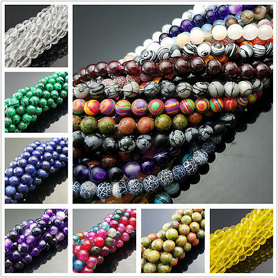 Natural Gemstone Round Loose Strand Beads for DIY Jewelry Making 4/6/8/10mm