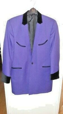 135e5f7778db Mens Teddy Boy Drape Jacket Purple With Black Velvet Rock N Roll Rockabilly  Ted
