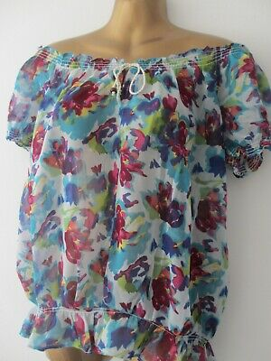 3fcf18db159e22 Womens off shoulder bardot floral top size 14 by Eaonplus boho peasant style