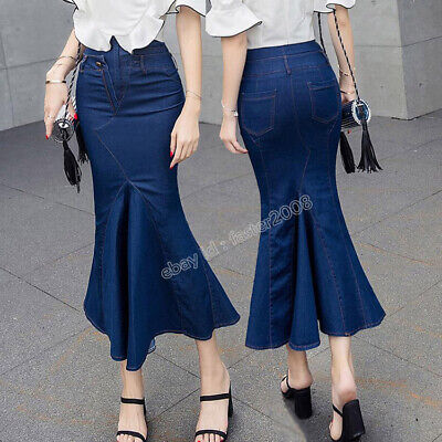 a6287ded46 Fashion Women s Denim High Waist Bodycon Jeans Long Fishtail Skirt Flared  Dress