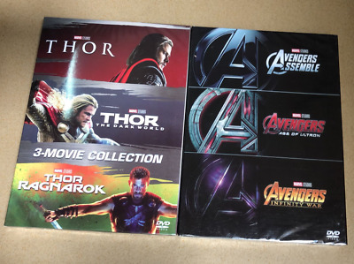 Marvel Lot THOR 3-Movie Collection Box Avengers 123 Collection DVD US Seller
