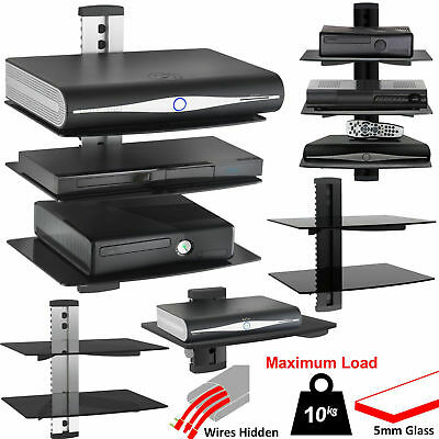 1 2 3 Tier Black Floating DVD Player Glass Shelf for Small LCD LED TV SKY Box