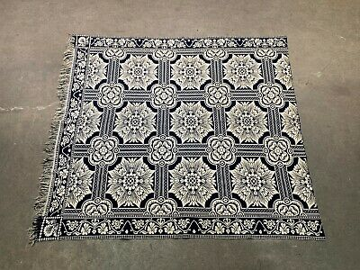 Antique Mid 19th Century Blue & White Reversible Jacquard Coverlet