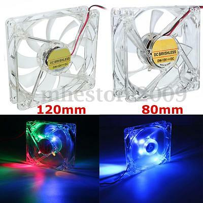 80mm 120mm 3 -4Pin Neon 15 LED Light PC Computer Case Cooling Fan CPU Cooler  !