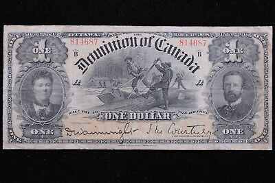 """1898 B Series Dominion of Canada $1 """"One Outward"""" Higher Grade Banknote"""