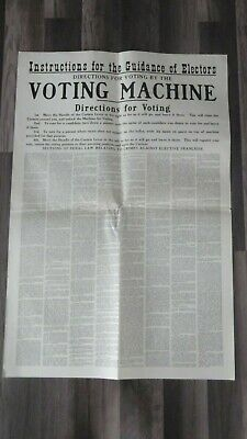 Vintage VOTING Instruction Card Poster Broadside CHILI Monroe County NY