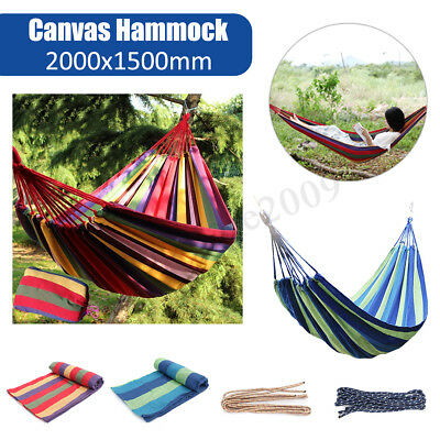 Double Large Swing Hammock Canvas Camping Hang Bed Garden Travel Beach Outdoor !
