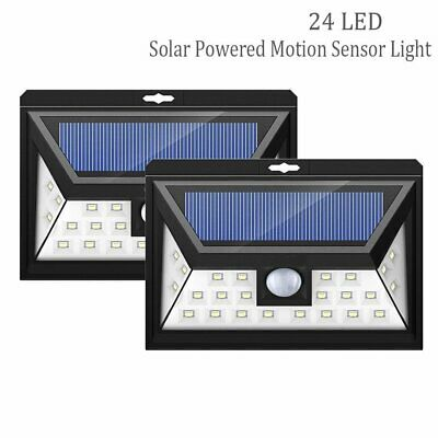 UK Solar Powered Motion Sensor Security Light 24 LED Outdoor Garden Lamp