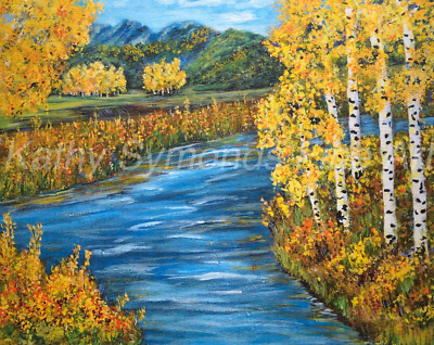 Colorado Aspens ACEO Prints from painting, 2.5x3.5 Birch along River, Signed