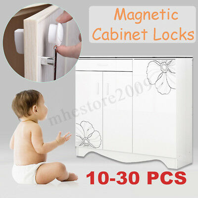 10-30 PCS Magnetic Cabinet Drawer Cupboard Locks Child Kids Baby Safety Proofing