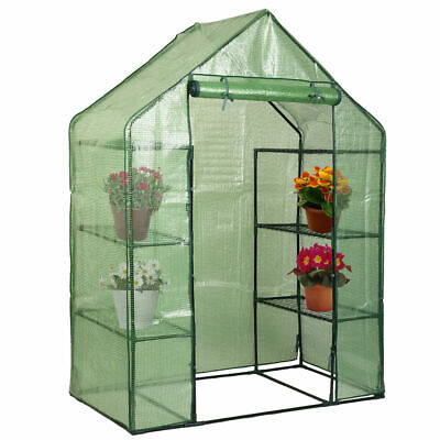 Walk in Greenhouse Reinforced PE Cover Garden Grow Green house 4 or 8 Shelves