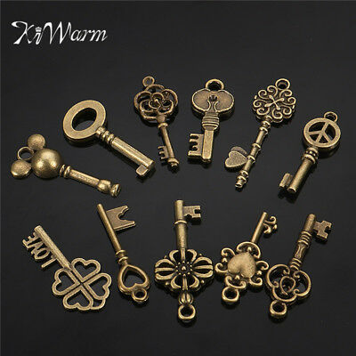 11Pcs Assorted Antique Vintage Old Look Skeleton Keys Bronze Steampunk