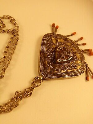 antique kazakh asian silver partially gilded pendant with hanging corals