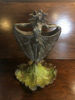 Antique Carlier Art Nouveau Double Sided Dancing Women On Lilly Pad Painted Vase