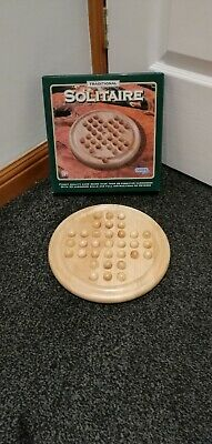 Traditional Solitaire Game (Hardwood Wooden Marbles and board) Gibson Games. VGC
