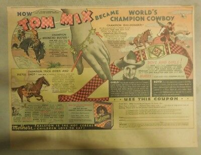 """Ralston Cereal Ad: Tom Mix """"Bracelet or Belt"""" Premium 1936 Size: 11 x 15 inches"""