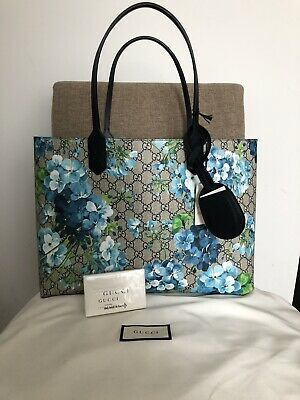 f981e2092ac Auth NWT Gucci Blooms Blue Navy Reversible GG tote Leather Handbag Bag Large