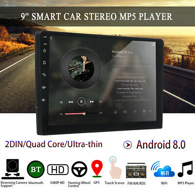 """Android 8.0 Car Stereo GPS Navigation Radio Player Double Din WIFI 9"""" Inch Touch"""