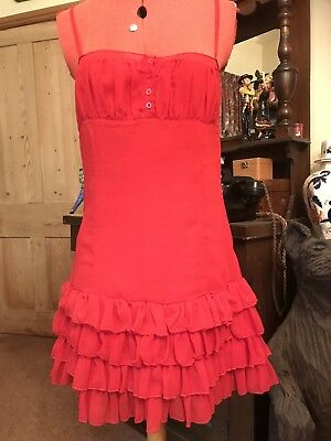 Red Ruffle Frill Dress Ra Ra Strappy Cute Sexy Summer Sheer 10 Holidays Wedding
