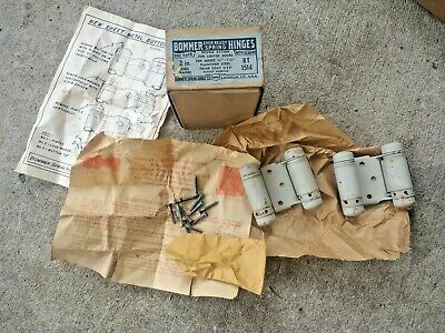 "Vtg Pair 2 NOS Bommer Ever ready Spring Hinges 2"" BT 1514 W/ Box & Screws"