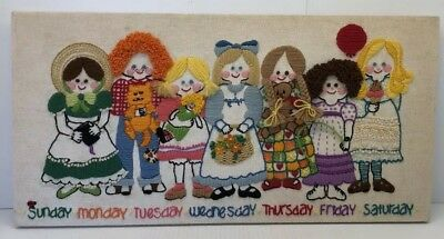 Vintage 1980 Completed Crewel Embroidery 2617 A Friend For Everyday