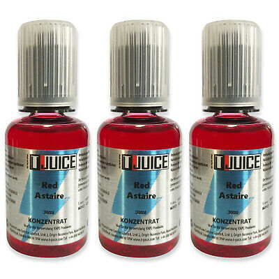 3 x 30ml (90ml) T-Juice Red Astaire E-Liquid Aroma für E-Zigarette Made in UK