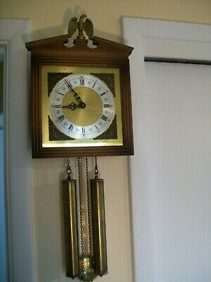 Vintage Schmeckenbecher Weight Driven Chimming Wall Clock w/ Brass Eagle #7345