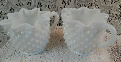 Vintage Fenton Hobnail White Milk Glass Star Creamer Pitcher & Sugar Bowl