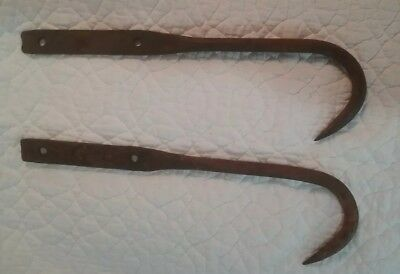 2 Matching Antique Large Wrought Iron Hook Hangers Hand Forged Rustic