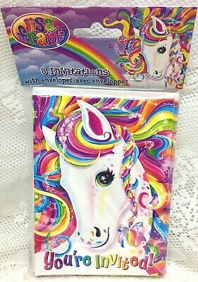 LISA FRANK PARTY Invitations Rainbow Unicorn Horse Birthday Majesty Kids 8 Count