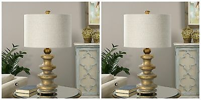Two Designer Mid Century Style Weathered Aged Gold Finish Table Lamp Desk Light