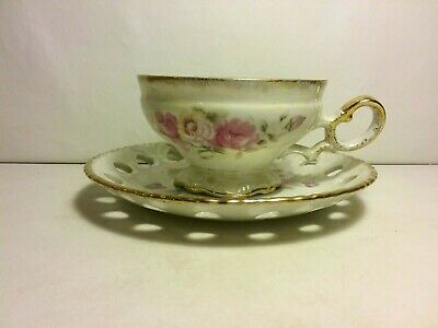 Norleans Cup and Saucer ~ Iridescent Roses  Cut Out Design