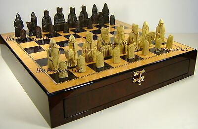 """Large Isle of Lewis Chess Set 3 1/2"""" King with 20"""" Dark Walnut Color Storage Bd"""