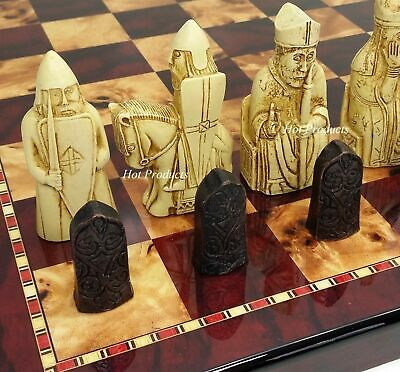 """Large Isle of Lewis Chess Set 3 1/2"""" King with 18"""" Cherry Color Board NO STORAGE"""
