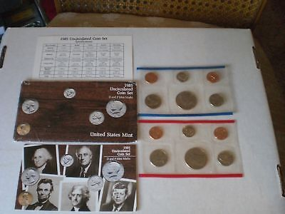 1985 Uncirculated U.S. Mint Set 10 Coins P and D Mint Marks